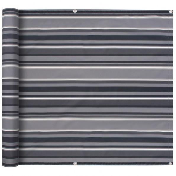 Balkonafskærmning oxfordstof 75 x 400 cm stribet grå