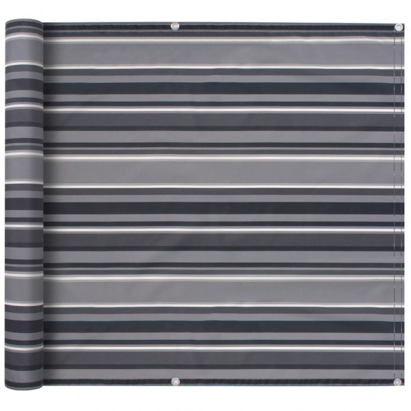 Altanafskærmning oxford-stof 90 x 600 cm stribet grå