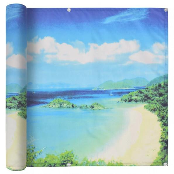 Altanafskærmning oxford-stof 90 x 600 cm søudsigt-print