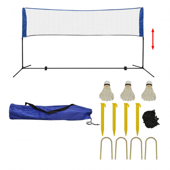 Badmintonsæt med net og fjerbolde 300 x 155 cm