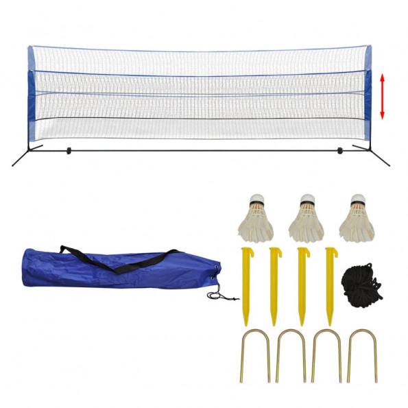 Badmintonnet-sæt med fjerbolde 500 x 155 cm