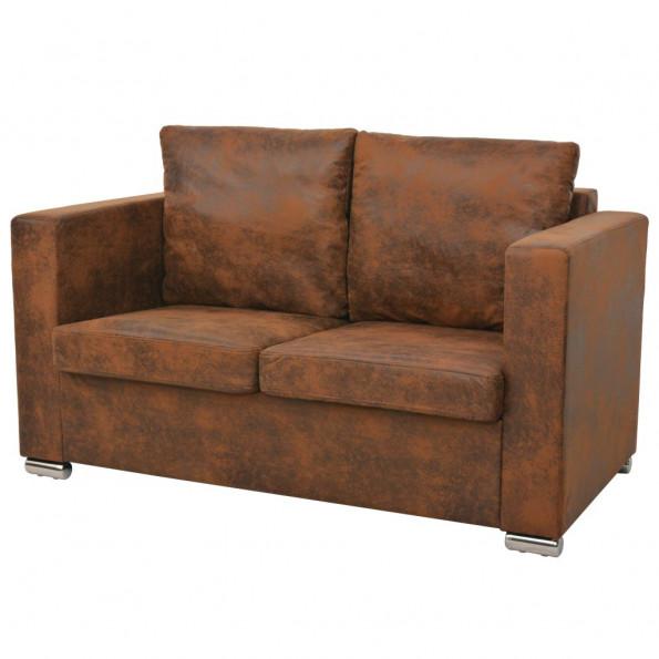 2-personers sofa 137 x 73 x 82 cm kunstigt ruskindslæder