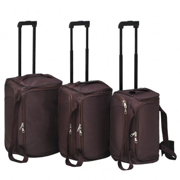 Baggagesæt i 3 dele kaffefarvet