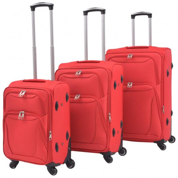 Softcase-trolleysæt 3 stk. rød