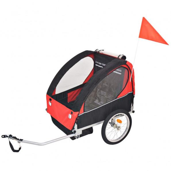 Cykelanhænger til børn rød og sort 30 kg