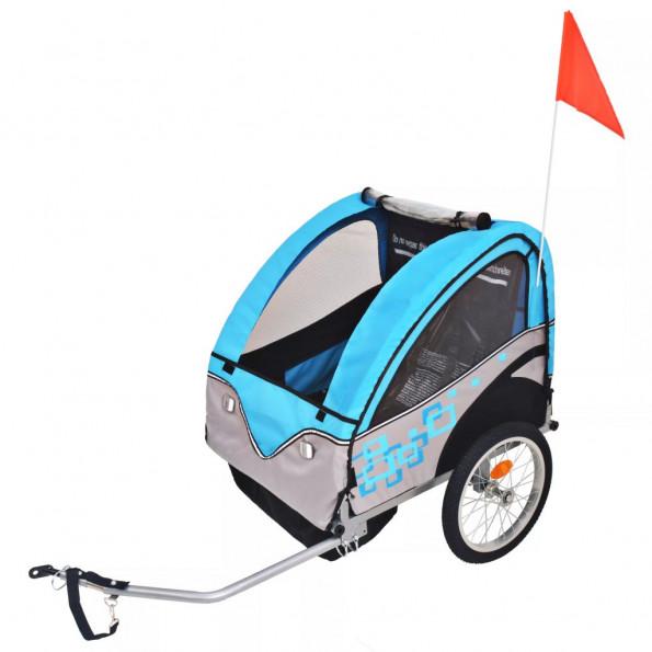 Cykelanhænger til børn grå og blå 30 kg