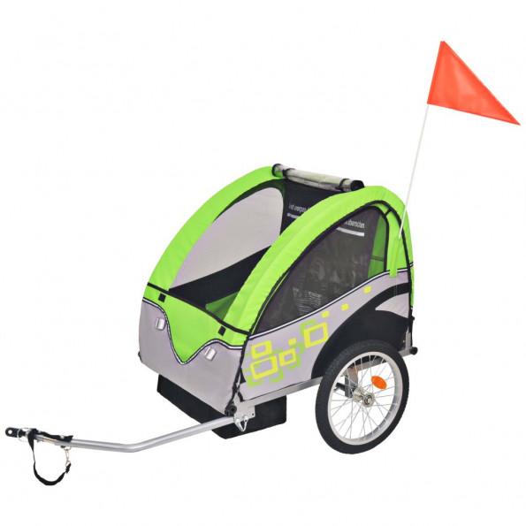 Cykelanhænger til børn grå og grøn 30 kg