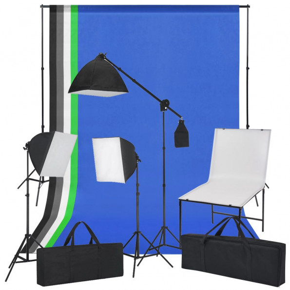 Fotostudiesæt med fotobord, lys og baggrunde