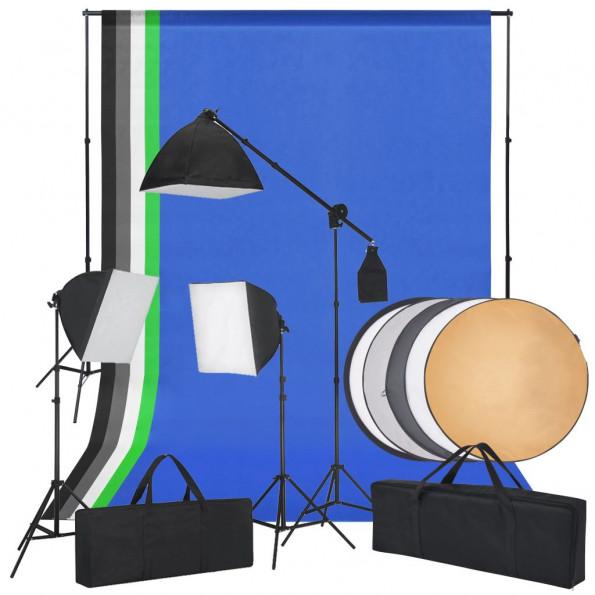 Fotostudiesæt med softbox-lys, baggrunde og en reflektor