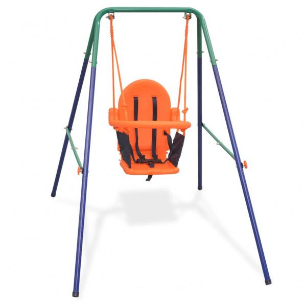 Gyngesæt med sikkerhedsele til småbørn orange