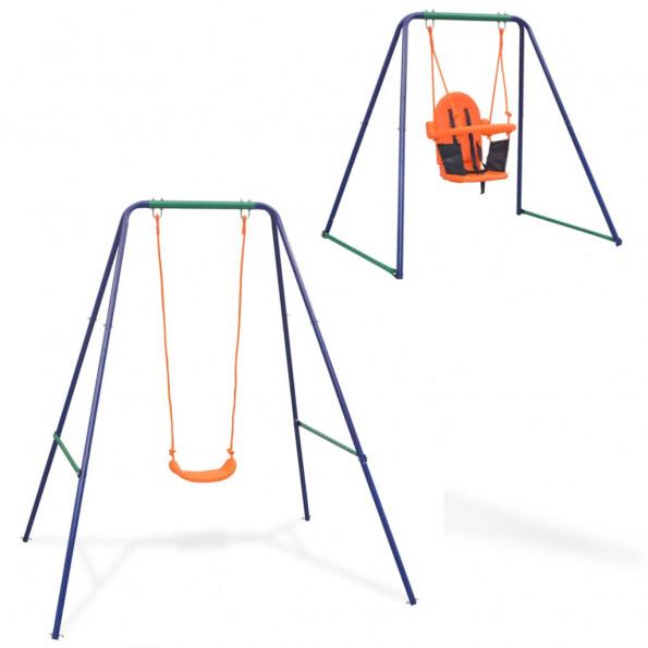 2-i-1 enkeltgynge og småbørnsgynge orange