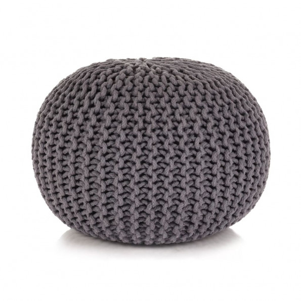 Håndstrikket puf bomuld 50 x 35 cm grå