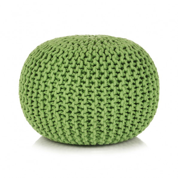 Håndstrikket puf bomuld 50 x 35 cm grøn