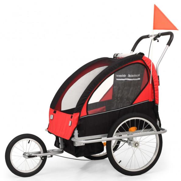 2-i-1 cykelanhænger- og klapvogn til børn sort og rød