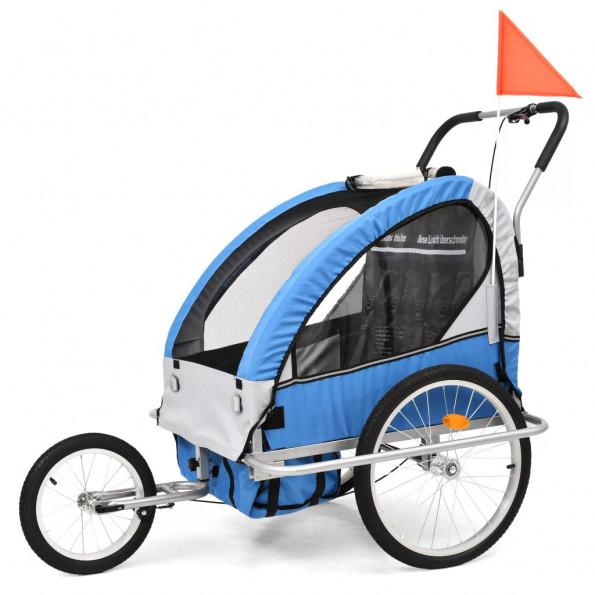 2-i-1 cykelanhænger og klapvogn til børn blå og grå
