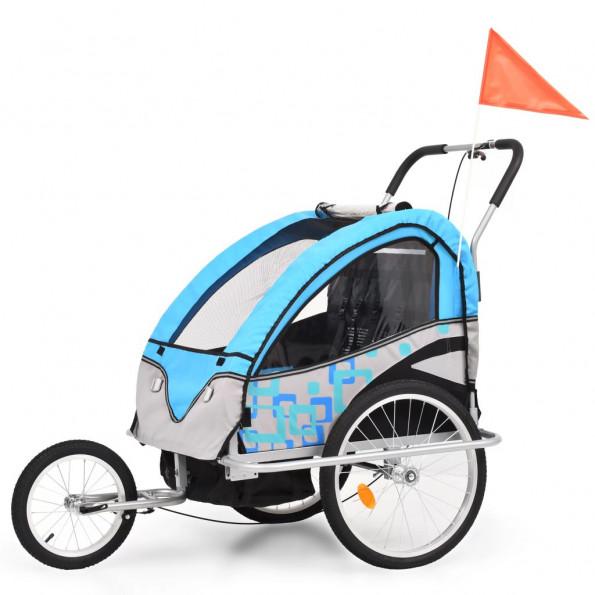 2-i-1 cykelanhænger- og klapvogn til børn blå og grå