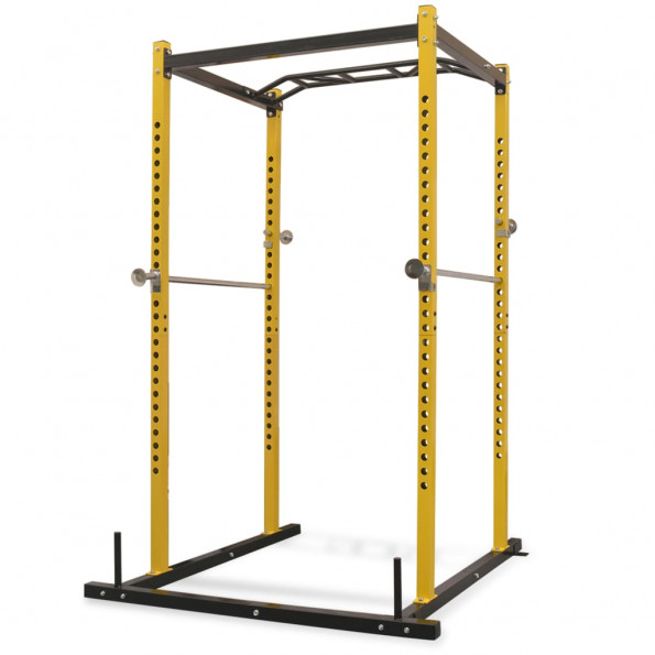 Fitness-styrketårn 140 x 145 x 214 cm gul og sort