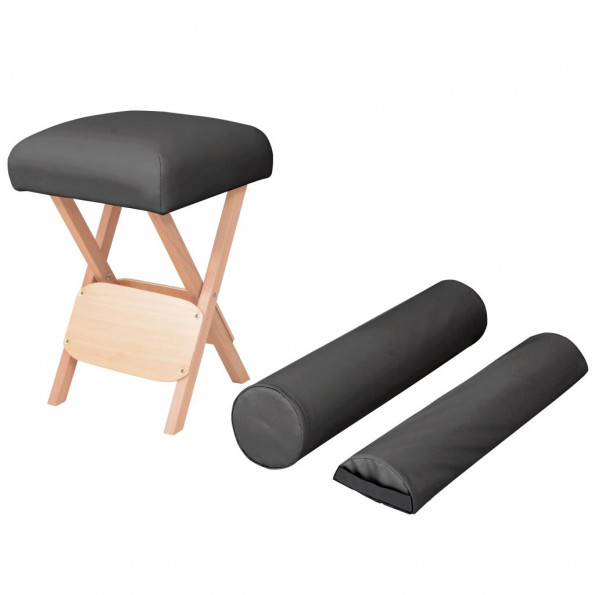 Foldbar massagestol med 12 cm tykt sæde og 2 puder sort