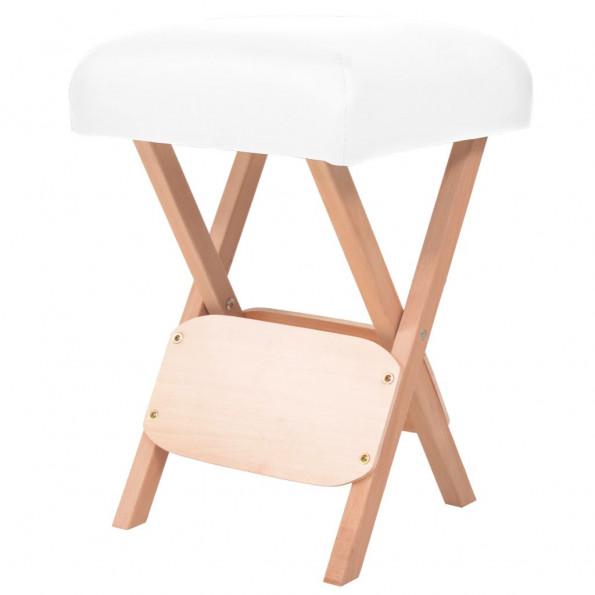 Foldbar massagestol med 12 cm tykt sæde hvid
