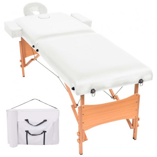 Foldbart 2-zoners massagebord 10 cm tykt hvid