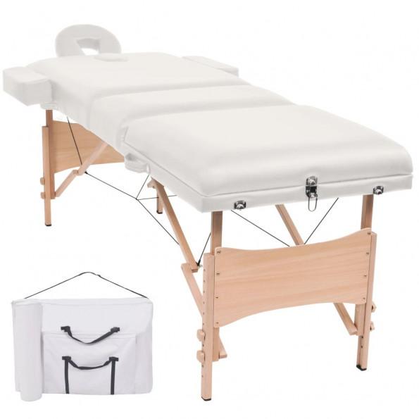 Foldbart 3-zoners massagebord 10 cm tykt hvid
