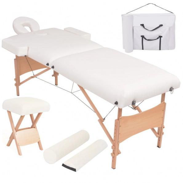 Foldbart 2-zoners massagebord- og skammelsæt 10 cm tykt hvid