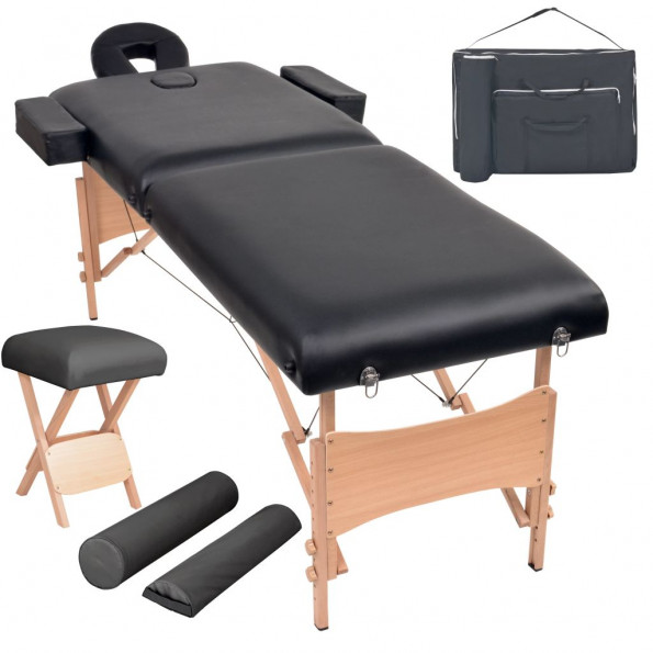 Foldbart 2-zoners massagebord- og skammelsæt 10 cm tykt sort