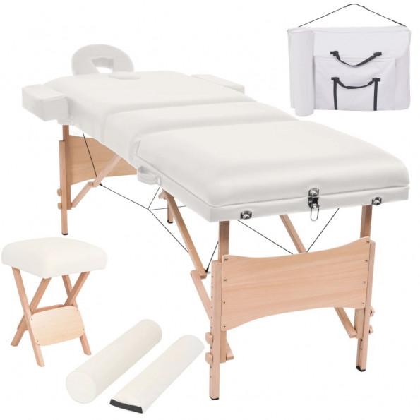 Foldbart 3-zoners massagebord- og skammelsæt 10 cm tykt hvid