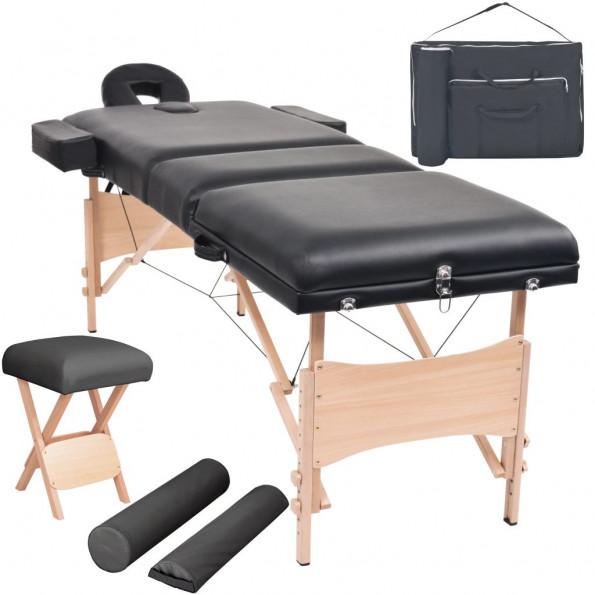 Foldbart 3-zoners massagebord- og skammelsæt 10 cm tykt sort