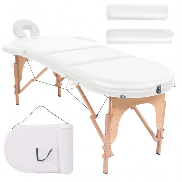 Foldbart massagebord 10 cm tykt med 2 puder oval hvid