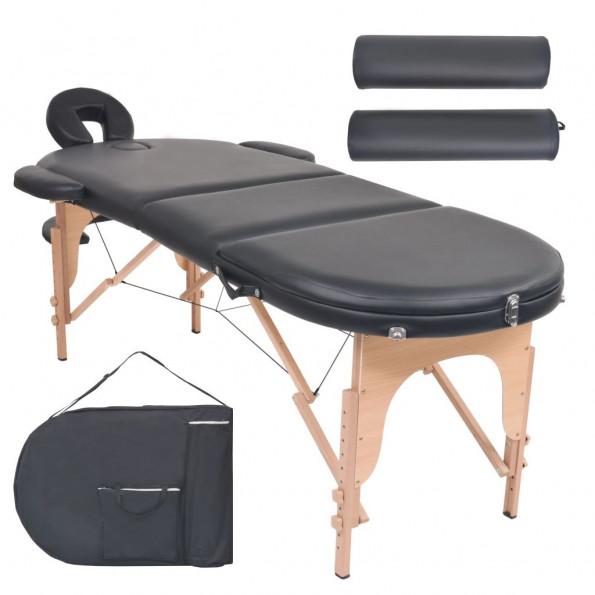 Foldbart massagebord 10 cm tykt med 2 puder oval sort