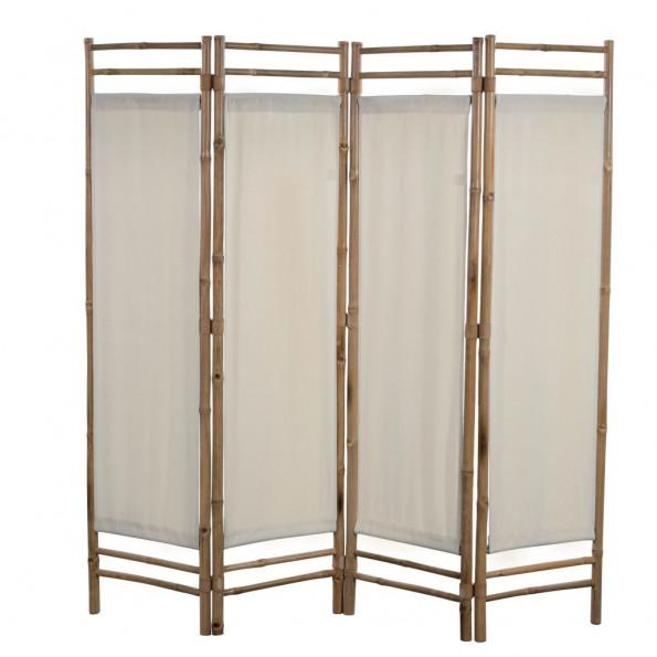 Foldbar 4-panels rumdeler bambus og kanvas 160 cm