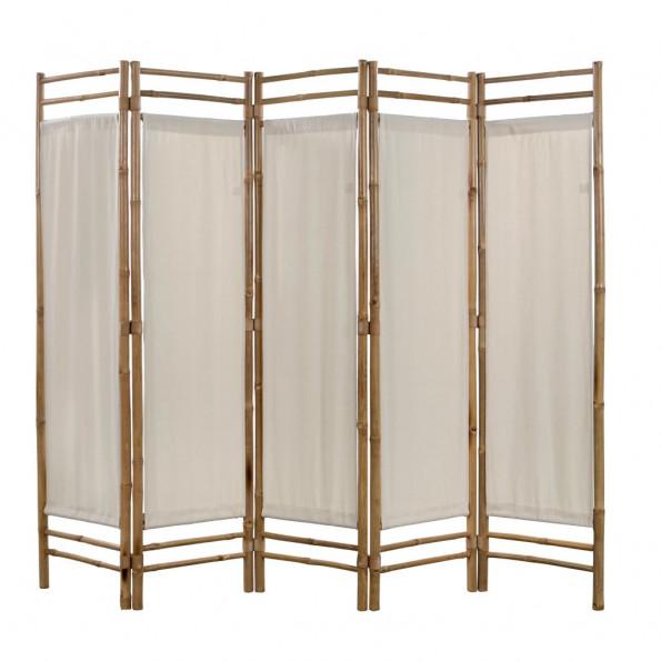 Foldbar 5-panels rumdeler bambus og kanvas 200 cm
