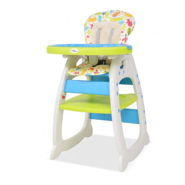 3-i-1 konvertibel højstol med bord blå og grøn