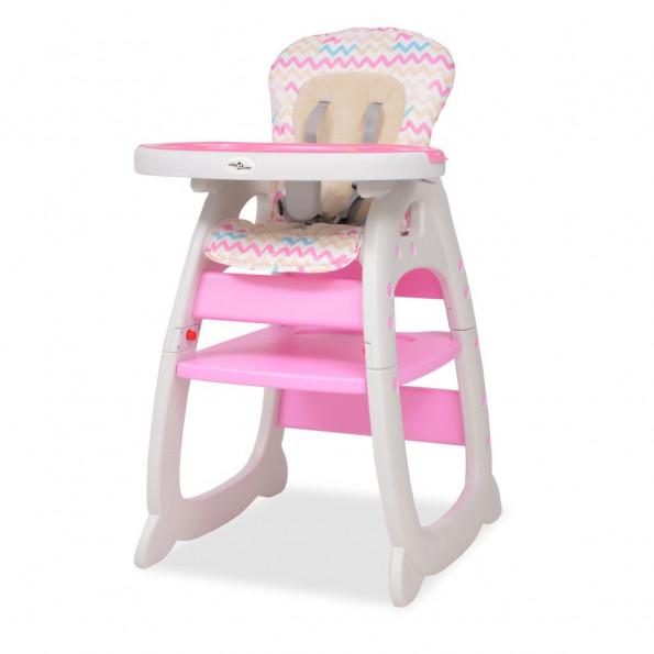 3-i-1 konvertibel højstol med bord lyserødt