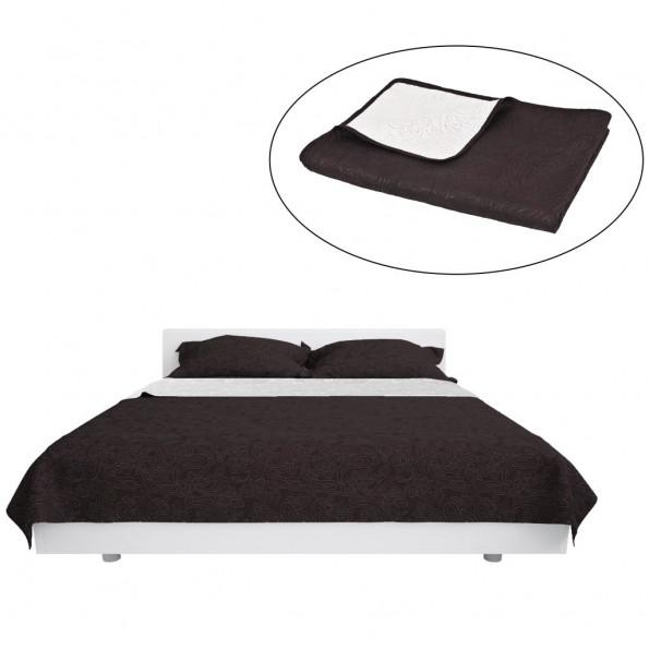 Dobbeltsidet quiltet sengetæppe 220 x 240 cm cremehvid og brun
