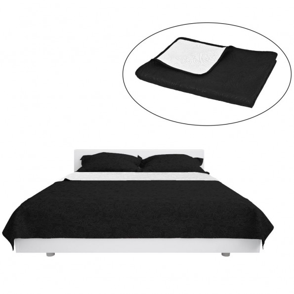 Dobbeltsidet quiltet sengetæppe 170 x 210 cm sort og hvid