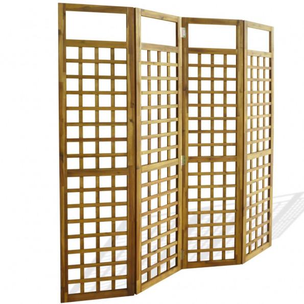 4-panels rumdeler/tremmeværk massivt akacietræ 160 x 170 cm