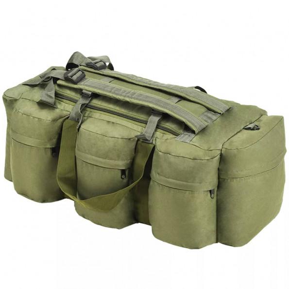 3-i-1 duffeltaske i militærstil 120 l olivengrøn