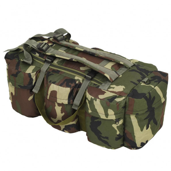 3-i-1 duffeltaske i militærstil 120 l camouflage