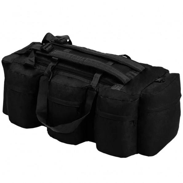 3-i-1 duffeltaske i militærstil 120 l sort