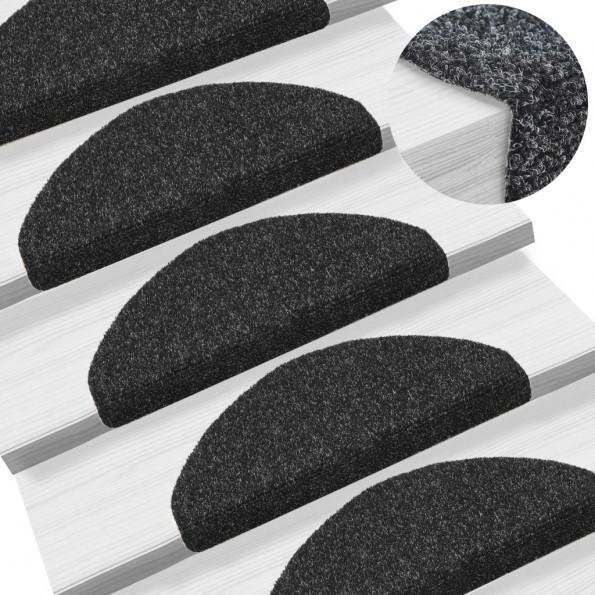 15 stk. selvklæbende trappemåtter nålenagle 65 x 21 x 4 cm sort