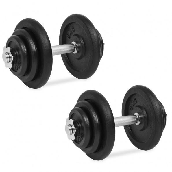 Håndvægtsæt i 18 dele 40 kg støbejern