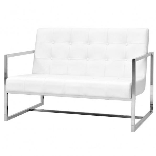 2-personers sofa med armlæn kunstlæder og stål hvid