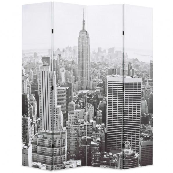 Foldbar rumdeler 160 x 170 cm New York by Day sort og hvid