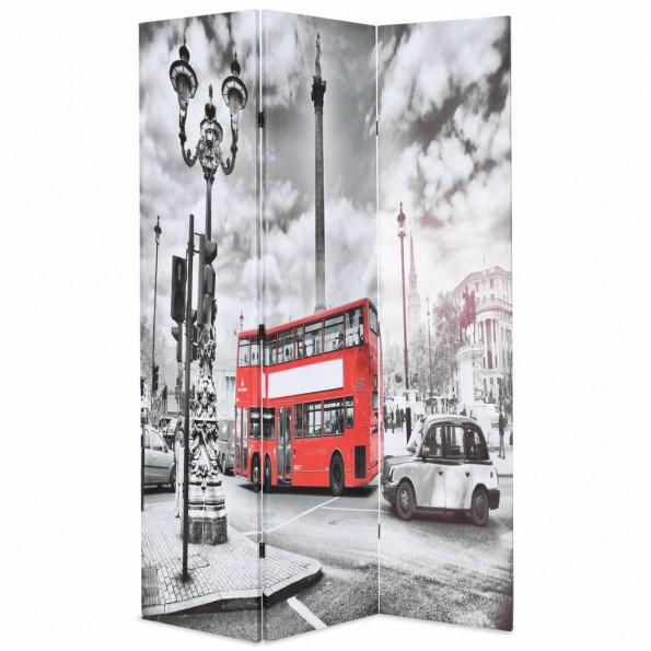 Foldbar rumdeler 120 x 170 cm London bus sort og hvid