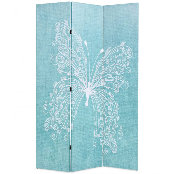 Foldbar rumdeler 120 x 170 cm sommerfugl blå