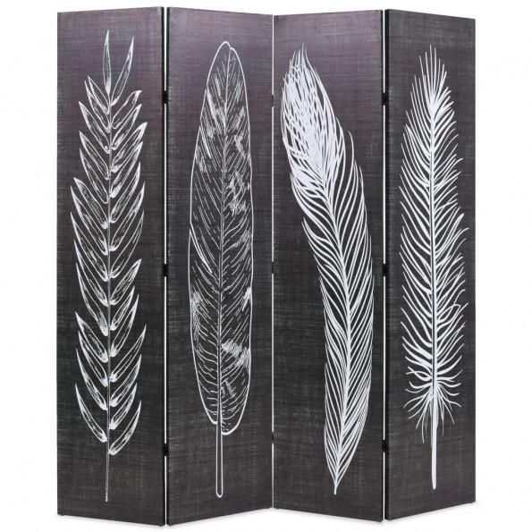 Foldbar rumdeler 160 x 170 cm fjer sort og hvid