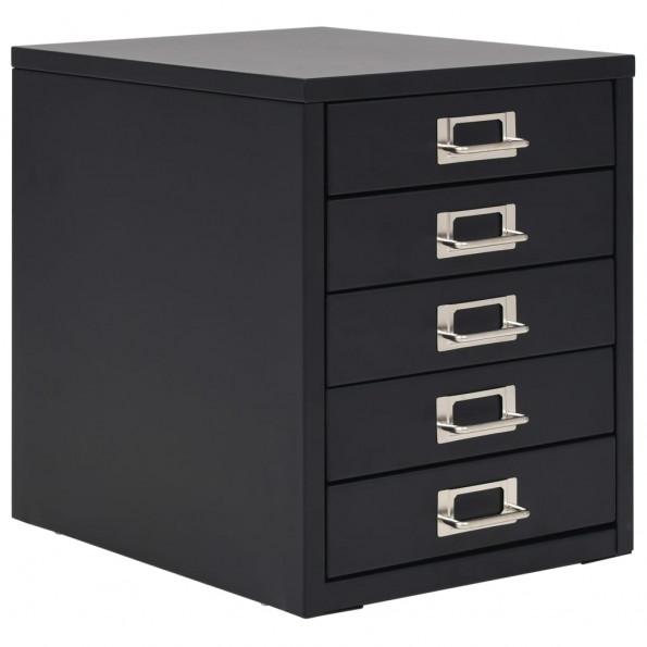 Arkivskab med 5 skuffer metal 28 x 35 x 35 cm sort