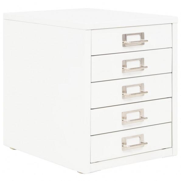 Arkivskab med 5 skuffer metal 28 x 35 x 35 cm hvid